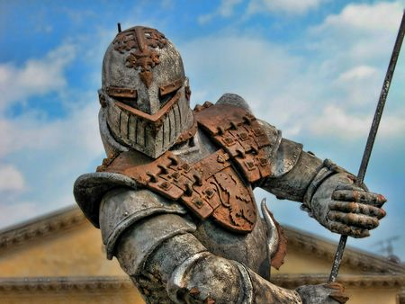 ancient warrior: A powerful armour showed near Verona Arena