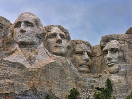 mt: Detail of Mount Rushmore, South Dakota, August 2005