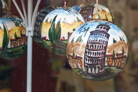 Decorations for Christmas Time in Pisa, Italy photo