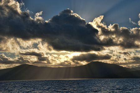 whitsundays: Sunset during a Cruise in the Whitsundays Archipelago, Australia Stock Photo