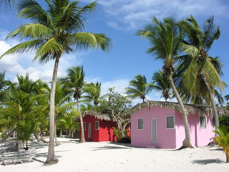 Small and Coloured Homes on the Coast of Santo Domingo, Dominican Republic