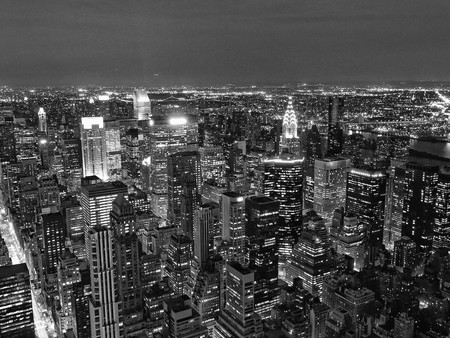 new look: Night View of New York City from Empire State Building Stock Photo