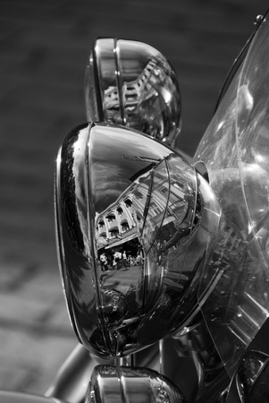 Motorbike Lamp City Reflection in a Street of Oslo, Norway photo