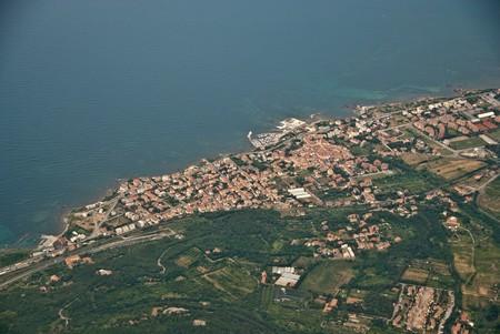 Airplane view of Tuscan Coast, Italy photo