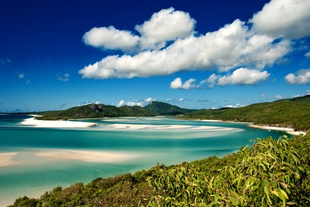 barrier: Whitehaven Beach in the Whitsundays Archipelago, Queensland, Australia Stock Photo