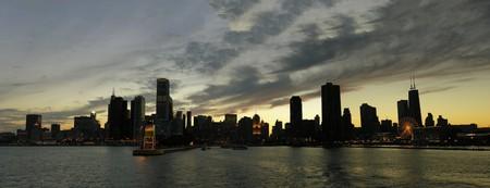 Chicago Skyline from Michigan Lake at Sunset photo
