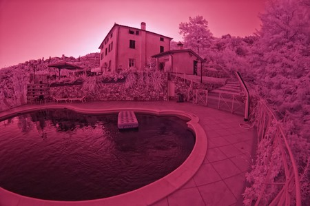 agriturismo: Summer at Agriturismo in Tuscany, Italy, Infrared Picture Stock Photo