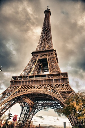 Bottom-Up view of Eiffel Tower in Paris