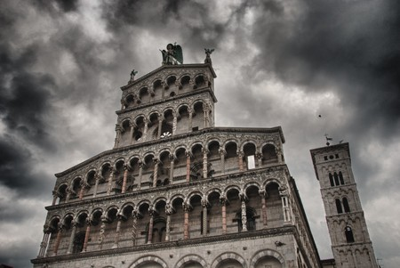 lucca: Church Facade in Lucca with Bad Weather background, Italy