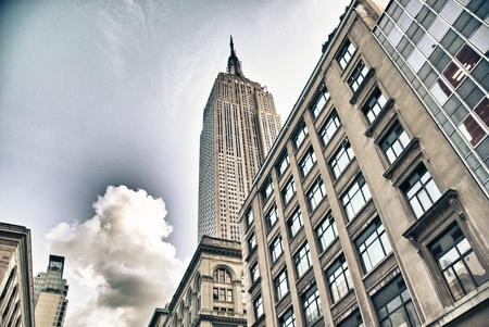 empire state building: Streets of New York City, USA Stock Photo