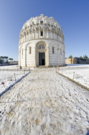 Piazza dei Miracoli in Pisa after a Snowstorm, Italy Stock Photo - 8508475