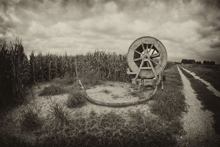 Agriculture Machinery in a Tuscan Meadow, Italy photo