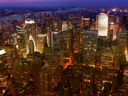 Night View of New York City from Empire State Building Stock Photo