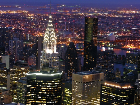 Night View of New York City from Empire State Building Stock Photo - 8665804