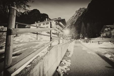 Night Landscape of Dolomites during Winter, Italy photo