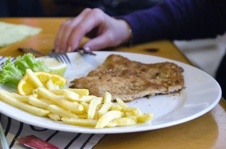 Wiener Schnitzel and Potatoes, Typical Meal in Austria photo