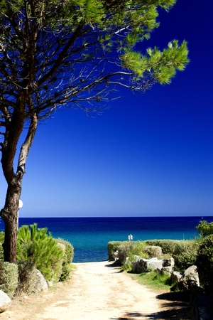 Wonderful Colors of the Corsica Sea, France Stock Photo