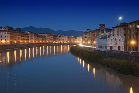 Night view of Lungarni in Pisa, Italy