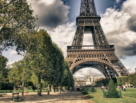 paris street: Eiffel Tower from Park du Champ de Mars in Paris, France