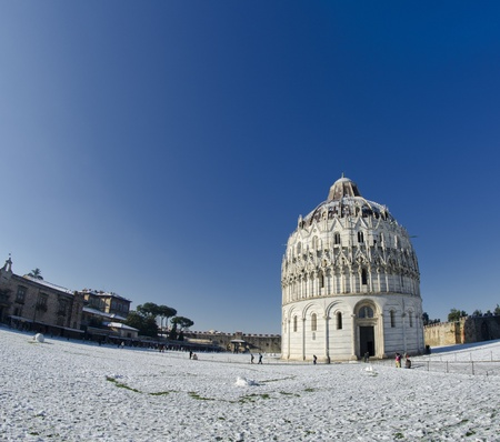Piazza dei Miracoli in Pisa after a Snowstorm, Italy photo