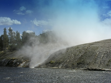 Smoky Geyser in the Yellowstone National Park photo