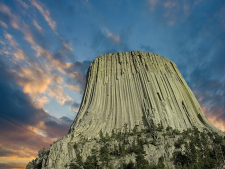 alpenglow: Colors of Sunset over Devils Tower, Wyoming, U.S.A.