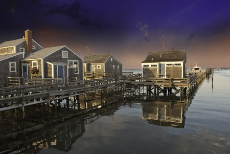 Homes over Water in Nantucket at Sunset, Massachusetts, U.S.A. photo