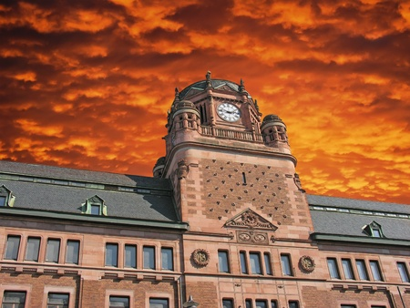 Cloudy Sky over Post Office Building in Stockholm, Sweden photo