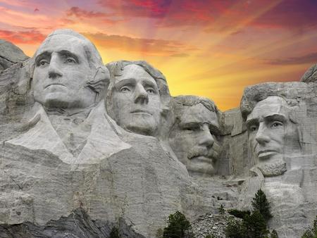 Mount Rushmore at Sunset, South Dakota, U.S.A. Redakční