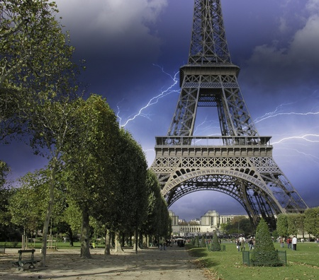 Thunderstorm approaching Eiffel Tower in Paris, France photo