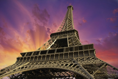 view from below: Bottom-Up view of Eiffel Tower in Paris, France
