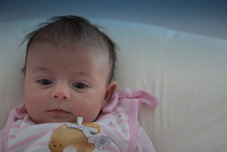Newborn Baby Girl Face Expression, Italy photo