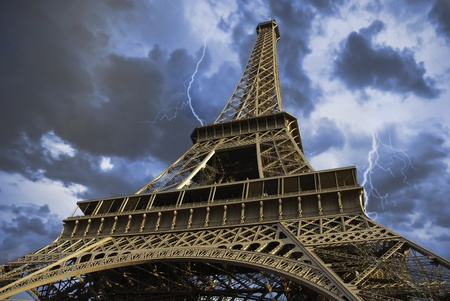 View of Eiffel Tower from Below in Paris, France photo
