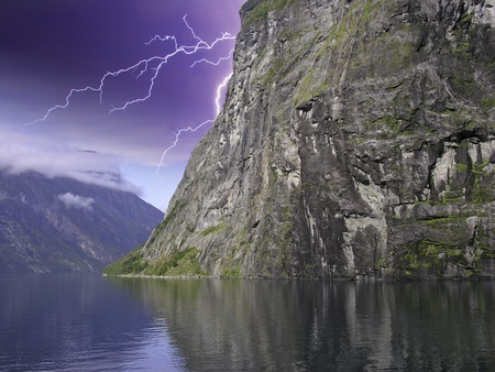 Clouds and Storm over Geiranger Fjord, Norway photo