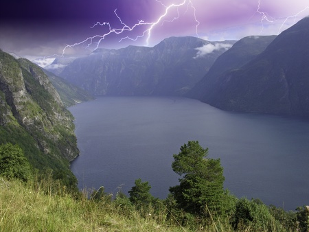 Panoramic view of Geiranger Fjord, Norway Stock Photo - 9674807