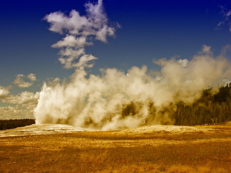 yellowstone: The Famous Old Faithful Geyser in Yellowstone National Park Stock Photo