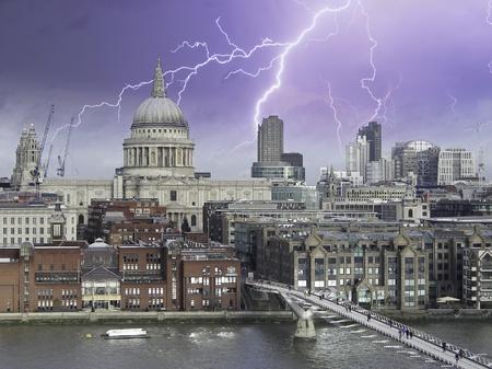 Storm over Millennium Bridge in London, U.K. photo