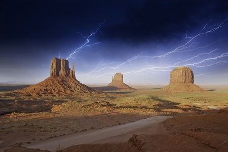 Storm over Monument Valley Rocks, U.S.A. photo