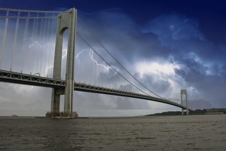 bridge over water: Storm over Verrazzano Bridge, New York Stock Photo