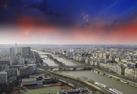 View of Paris from Eiffel Tower, France photo