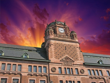 Cloudy Sky over Post Office Building in Stockholm, Sweden Stock Photo - 9894318