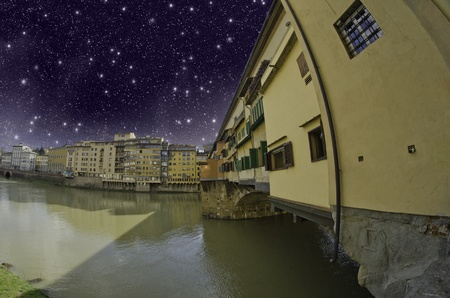 Starry Night over Ponte Vecchio in Florence, Italy Stock Photo - 9953538