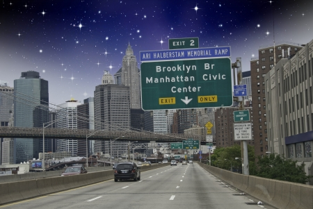 starry night: Entering New York City in a Starry Night, U S A  Stock Photo