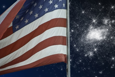 starry night: Starry Night over American Flag, U.S.A. Stock Photo