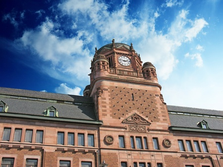 Cloudy Sky over Post Office Building in Stockholm, Sweden Stock Photo - 9963131