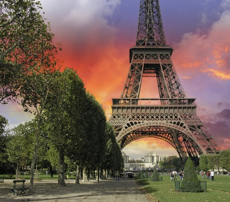 Thunderstorm approaching Eiffel Tower in Paris, France