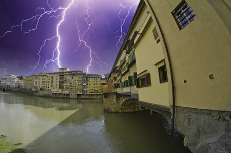 Storm over Ponte Vecchio in Florence, Italy Stock Photo - 9963313