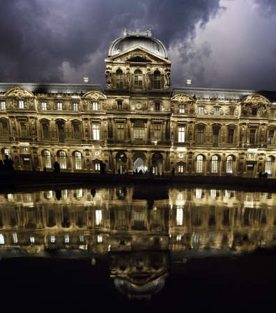 Storm over the Louvre during Night, Paris