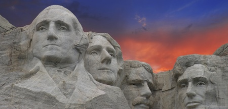 mt: Panoramic view of Mount Rushmore at Sunset in South Dakota, U.S.A. Editorial