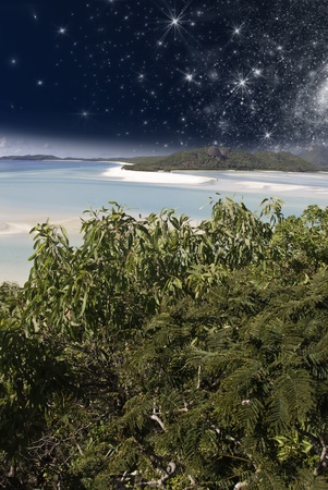 Starry Night in the Whitsunday Archipelago, Queensland, Australia Stock Photo - 9963355